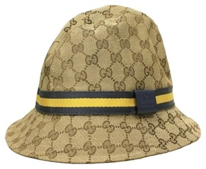 Gucci Gucci GG Logo Canvas and Leather Grey Web Unisex Fedora Hat 200036