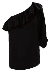 AKA New York One Shoulder Silk Frills Top Black