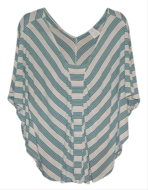 Ella Moss Casual Striped Top Teal and Off-White