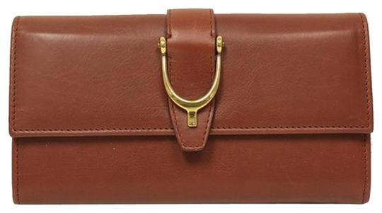 Gucci Gucci Spur Detail Continental Red Brown Leather Wallet 277718