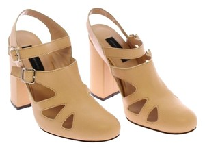 Andrea Incontri Leather Heels Beige Pumps