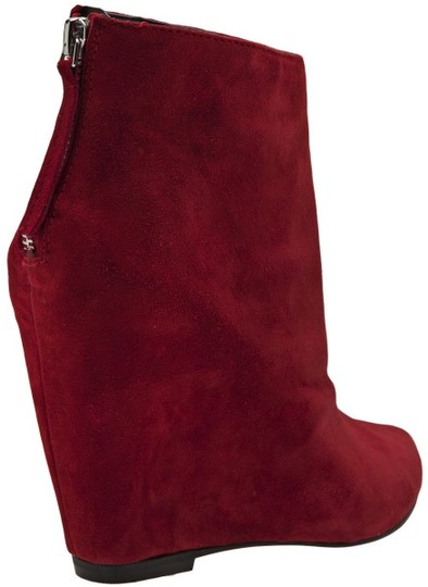 Dolce Vita Pointed Toe Wedge Red Suede Ankle Boots