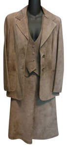 Brown Suede Western Wear 3 Piece Skirt Suite Size 12