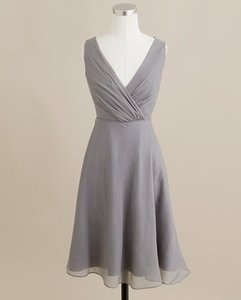 J.Crew Grey Silk Evie Graphite Traditional Bridesmaid/Mob Dress Size 10 (M)