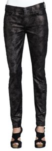 7 For All Mankind 7fam Metallic Coated Gwenevere Metallic Foil Skinny Jeans-Dark Rinse