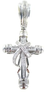 Other 14K SOLID WHITE GOLD PENDANT CROSS 107 DIAMONDS 2.50 CARAT 19.9 GRAMS FINE JEWEL