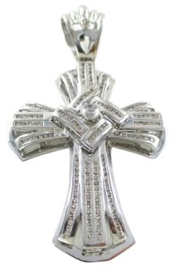 14K SOLID WHITE GOLD PENDANT CROSS 145 DIAMONDS 1.45 CARAT 20.5 GRAMS FINE JEWEL
