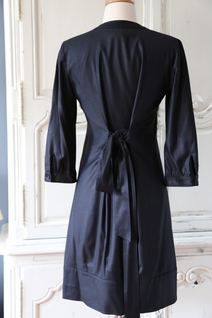 Theory Buttons Belted 3/4 Sleeve Two-way Sheer Dress