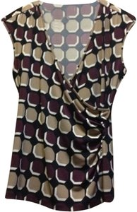 Ann Taylor Top Tan/Maroon/Black multi