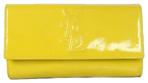 Saint Laurent Ysl Leather Large Flap Oversized Luxury Yellow Clutch
