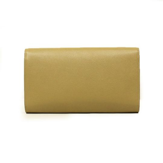 Saint Laurent Ysl Nude Camel Leather Designer Beige Clutch