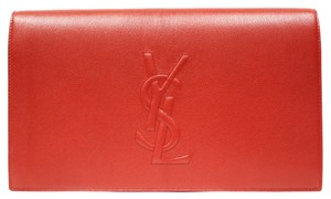 Saint Laurent Ysl Luxury Leather Large Flap Red Clutch