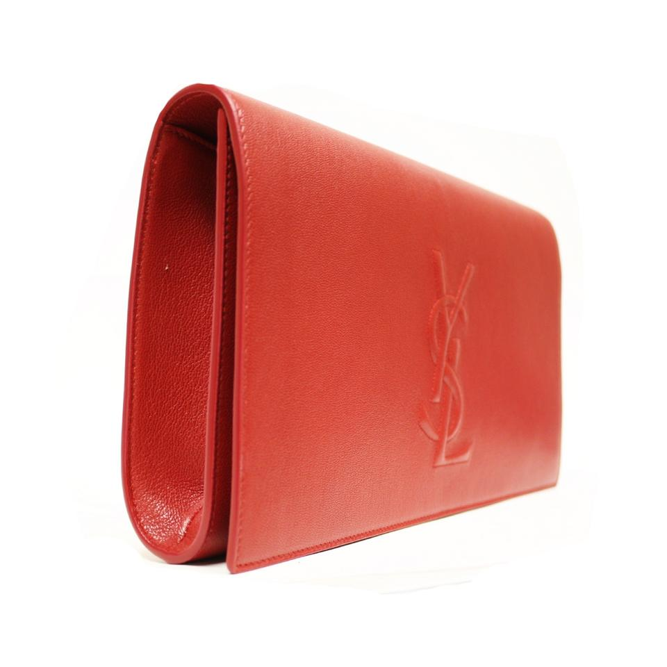 989f030448 Saint Laurent Belle de Jour Yves Ysl Large Red Leather Clutch - Tradesy