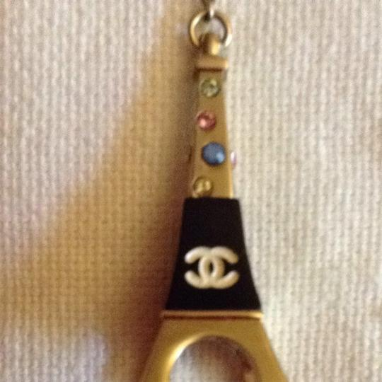 Chanel Pendant Eiffel Tower Paris CC Logo Crystal Enamel Gold Rainbow 06C