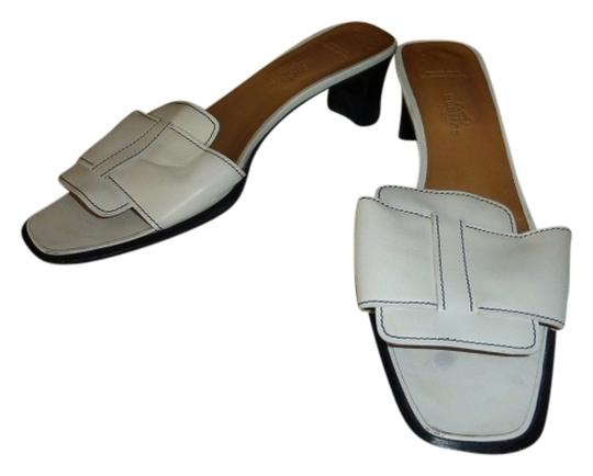 Hermès white leather Mules