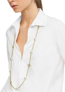 Tory Burch NEW Tory Burch Evie Chain Rosary 16k Gold & Pearls