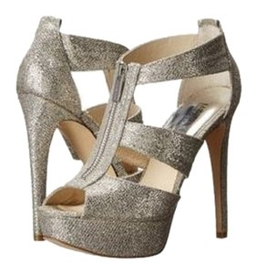 Michael Kors Mk Heels Stiletto Platform Sandals Open Toe Ankle Tstrap Glitter Leather Designer Fashion Style Modern Cool Edgy Chic Silver Pumps