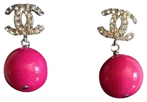 Chanel Chanel Earrings CC Logo Crystal Pink Ball Bead Pearl Drop Dangling Authentic Box Bag 04A Classic Timeless