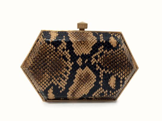 Be&D Kumamoto Snake Embossed Leather Tortoise Brown Clutch Image 2