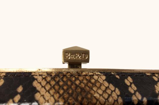 Be&D Kumamoto Snake Embossed Leather Tortoise Brown Clutch Image 4
