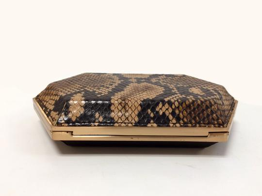 Be&D Kumamoto Snake Embossed Leather Tortoise Brown Clutch Image 7