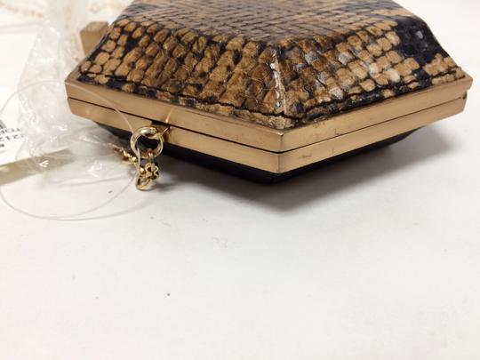 Be&D Kumamoto Snake Embossed Leather Tortoise Brown Clutch Image 8
