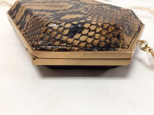 Be&D Kumamoto Snake Embossed Leather Tortoise Brown Clutch Image 9