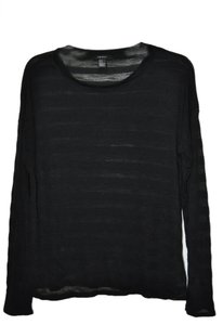 Forever 21 Longsleeve Rayon Striped Soft T Shirt Black