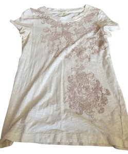 J.Crew T Shirt Off white with pink designs