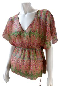 Willow & Clay Sheer Chiffon Dolman Gypsy Anthropologie 1994 Top Red