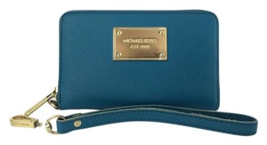 Michael by Michael Kors Saffiano Multifunction Wristlet in Turquoise