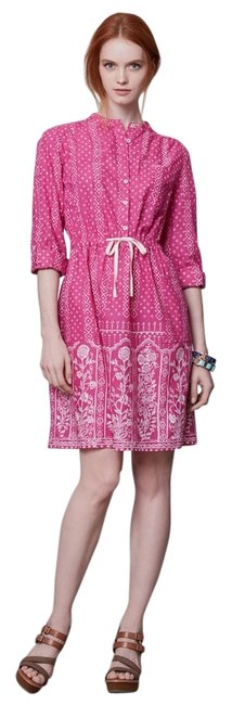 Anthropologie short dress Pink Meadow Rue Gossamer Peasant Romantic Bohemian Vintage Patchwork Fabric Mixing Feminine Effortless Cotton Shirtdress on Tradesy