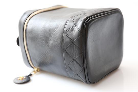 Chanel Cosmetic Case Quilted Lambskin Black Clutch