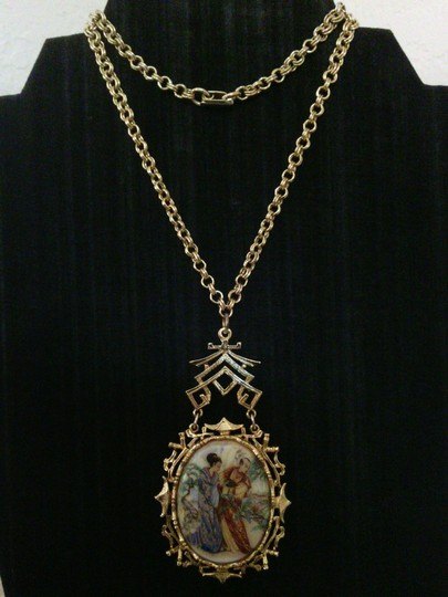Other Vintage Art Signed Asian Motif Necklace and Earring Set