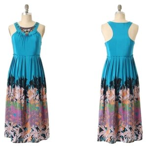 Blue Maxi Dress by Anthropologie Silk Maxi Island Garden