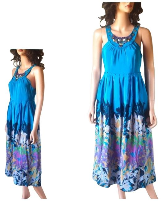 Blue Maxi Dress by Anthropologie Silk Maxi Island Garden Caribeean Gem And Bead Embellished Evening Sky Moulinette Soeurs Side Zip