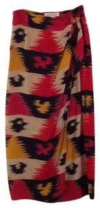 Jones New York Silk Graphic Bold Bright Maxi Maxi Skirt Red, black, tan