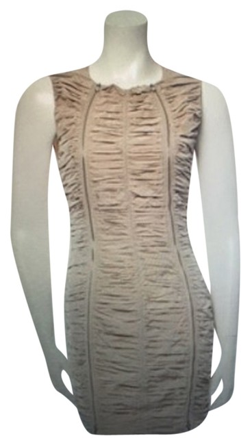 Preload https://item3.tradesy.com/images/carven-ruched-zippers-bow-dress-beige-5076457-0-0.jpg?width=400&height=650