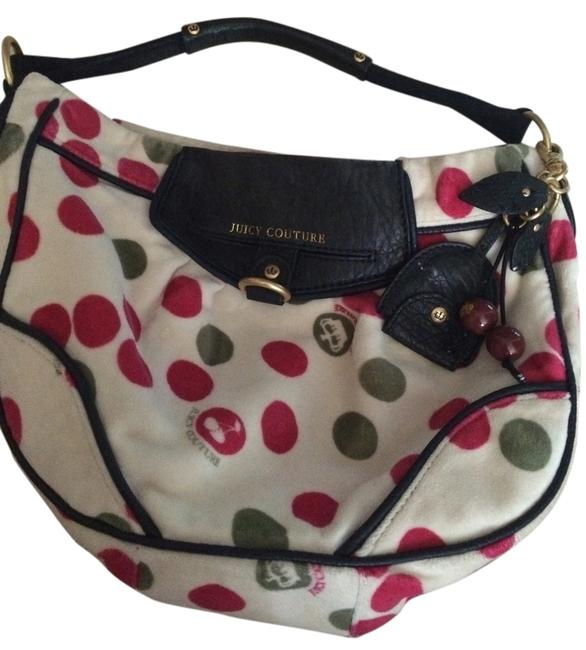 Item - Shoulder Cream with Fuchsia and Green Velour Hobo Bag