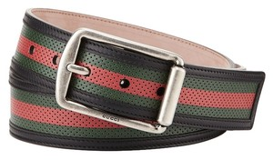 Gucci Signature Web Perforated Leather Belt- 42 Inches