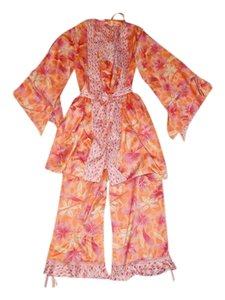 Valerie Stevens Silk Pajama Set Flower Polka Dot Dress