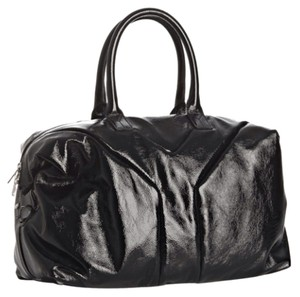 Saint Laurent Patent Leather Ysl Tote in Black