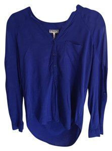 Kirra Sheer Polyester Chic Top Cobalt Blue