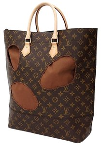 Louis Vuitton Lous Rei Kawakubo 2015 With Holes Sac Plat Tote Handbag Satchel in Iconoclast Monogram Canvas