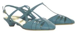 Miu Miu Prada Leather Cone Heel Teal Sandals