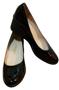 Salvatore Ferragamo Black Patent Leather Wedges