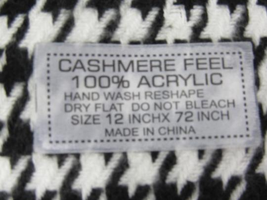 Other Scarf Black White Houndstooth Cashmere Feel 100% Acrylic