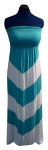 Turquoise White Maxi Dress by Design History