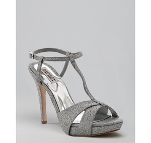 Badgley Mischka Silver Glitter Indigo Wedding Shoes