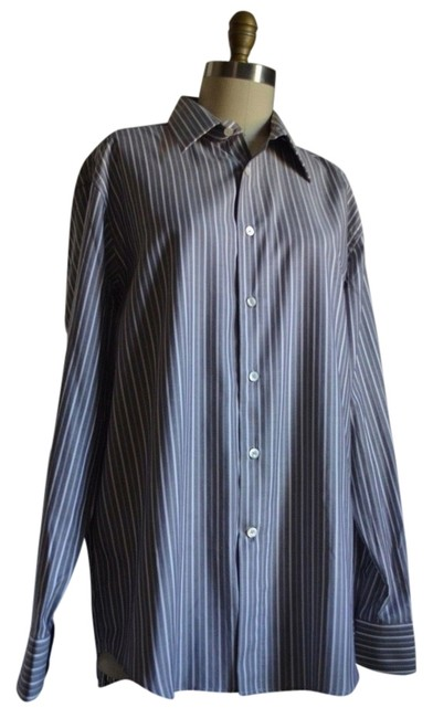 Preload https://item3.tradesy.com/images/canari-blue-grey-shirt-stripe-dress-made-in-italy-euro-4116-mint-button-down-top-size-16-xl-plus-0x-5077957-0-0.jpg?width=400&height=650